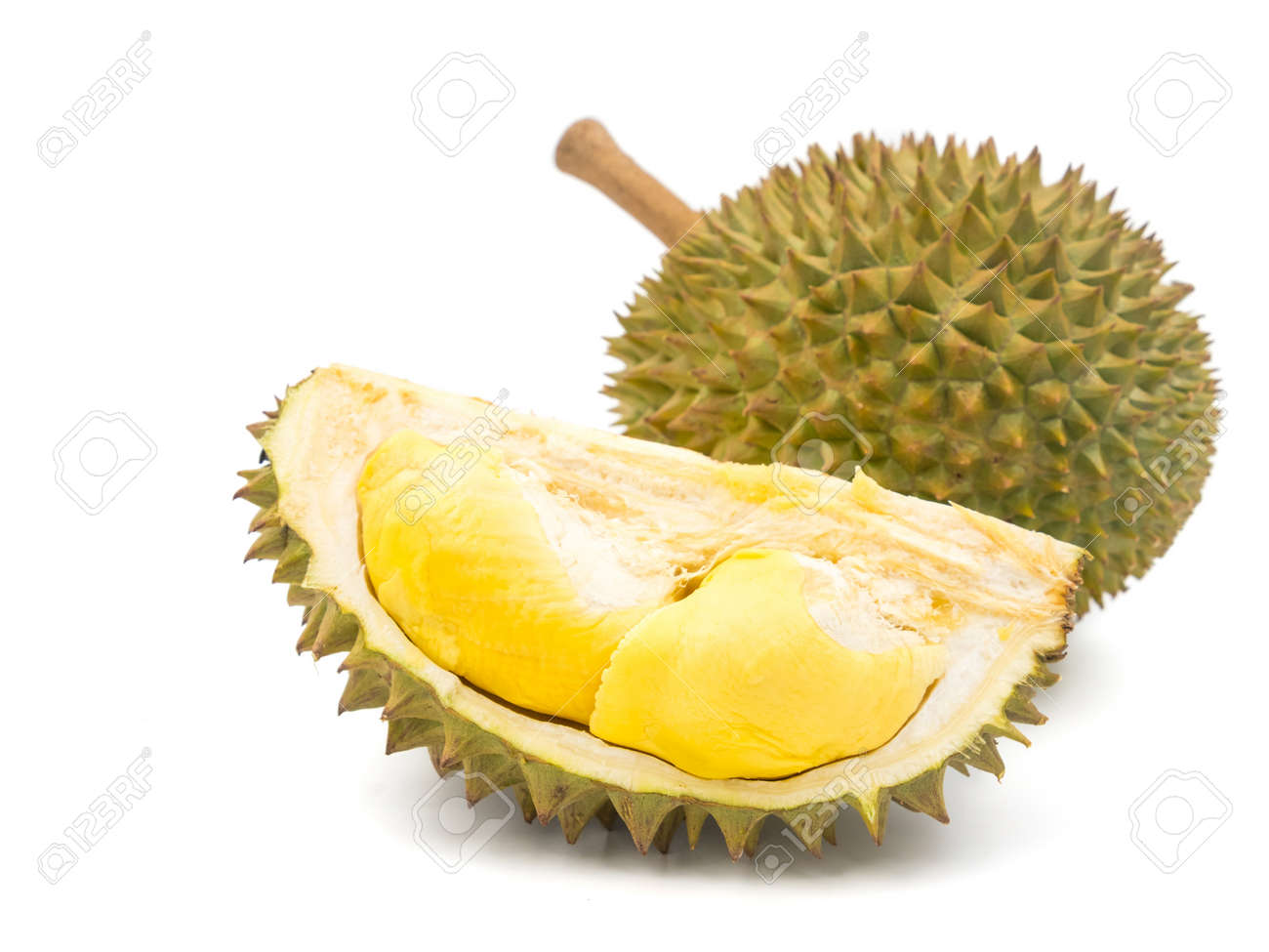 King of fruits, Durian on white background. - 78673348