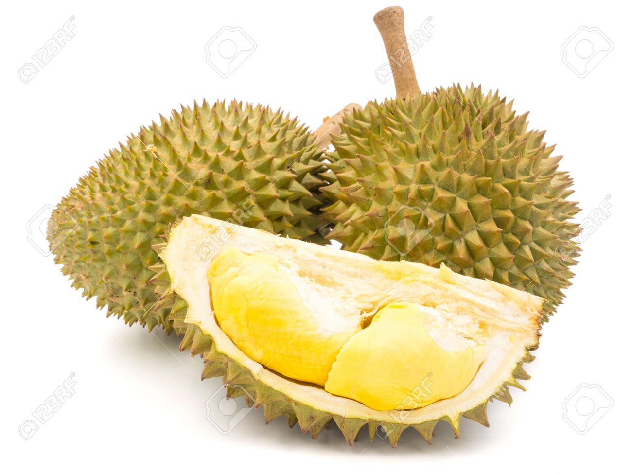 King of fruits, Durian on white background. - 78951142