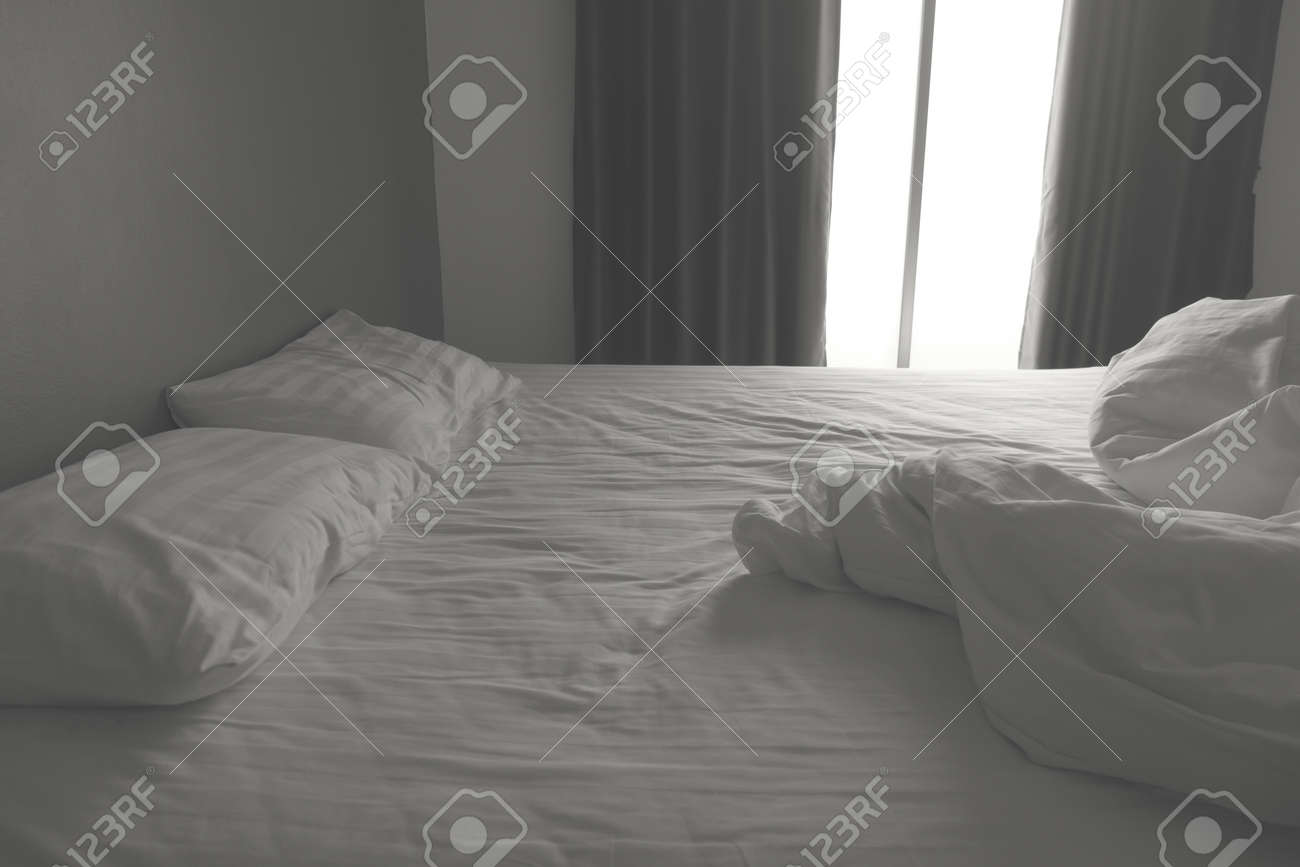Messy White Bedding Sheets And Pillows Black And White Tone Stock Photo Picture And Royalty Free Image Image 82432826