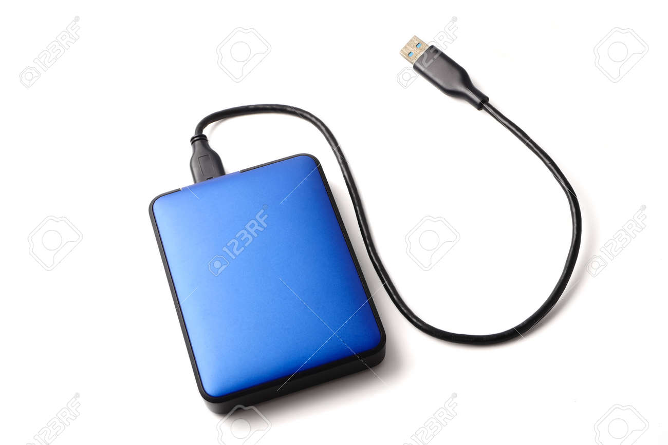 External hard disk drive with cable on a white background. - 85416027