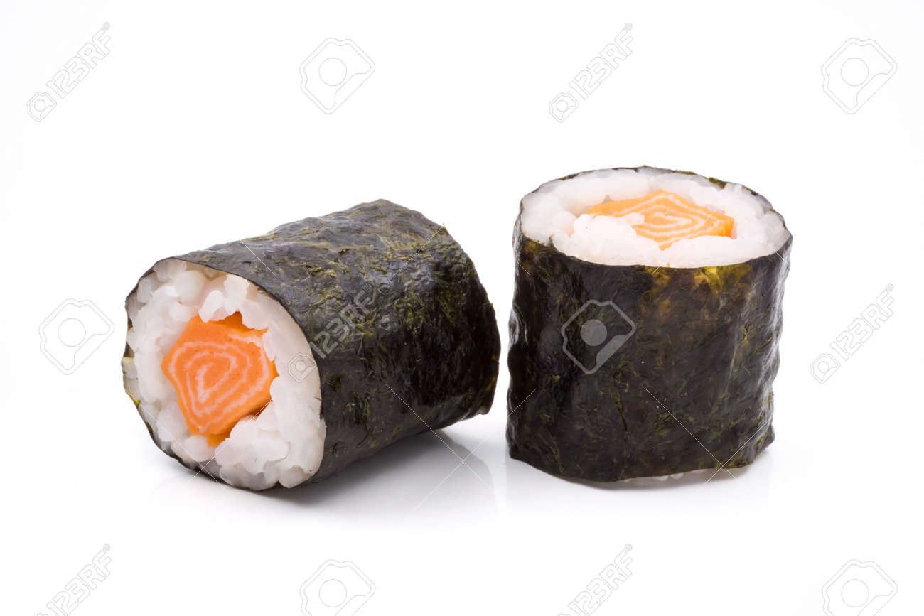Sushi rolls, rice with salmon and seaweed on white background, japanese food. - 85856111