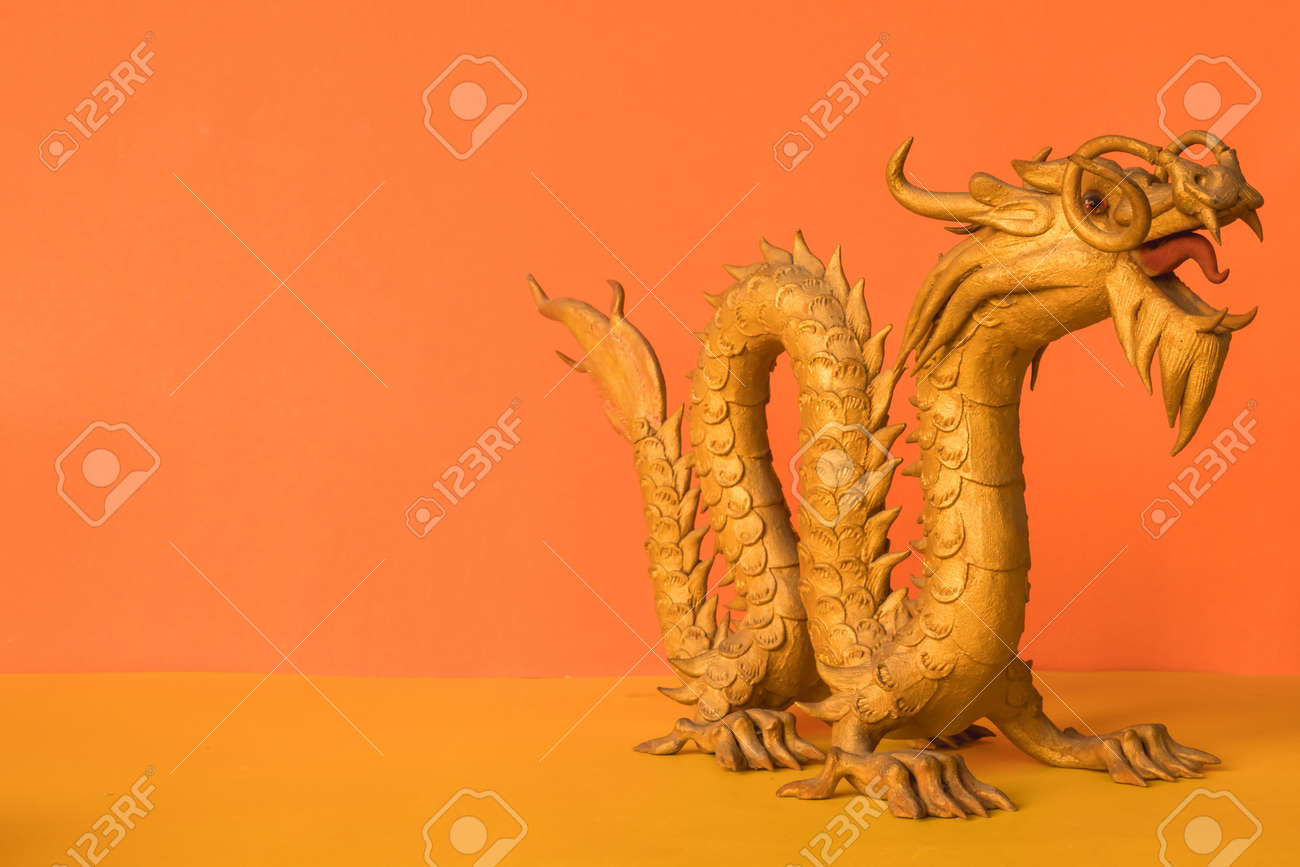 Golden Dragon Statue Is A Symbol Of Wealth And Power In The Faith