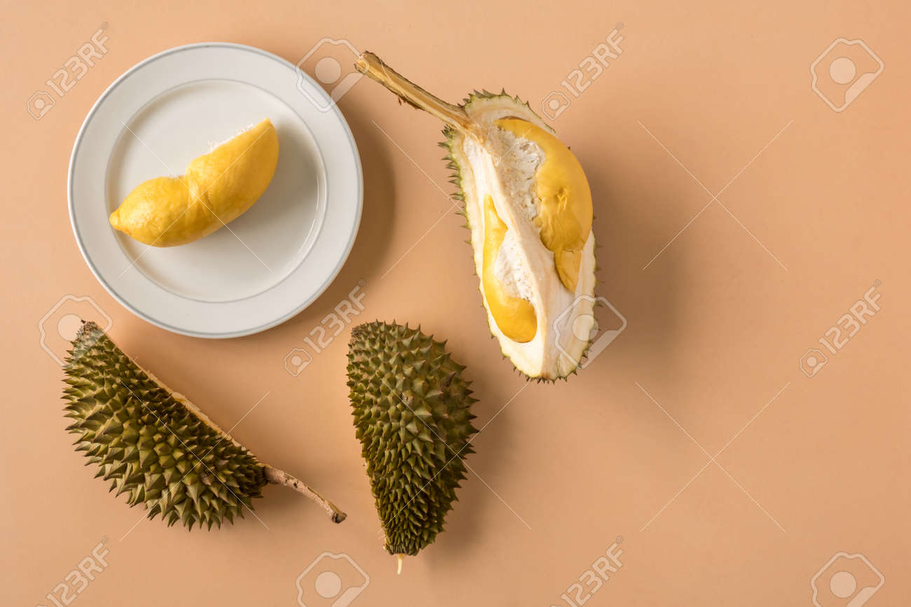 King of Fruits, Durian on brown background. Copy space - 101738350
