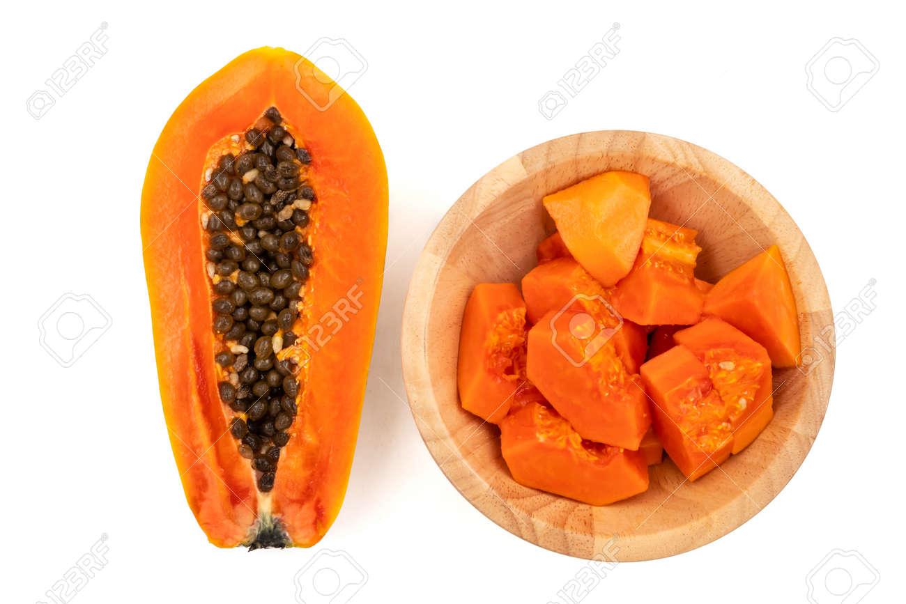 Slices of sweet papaya on white background - 103629255