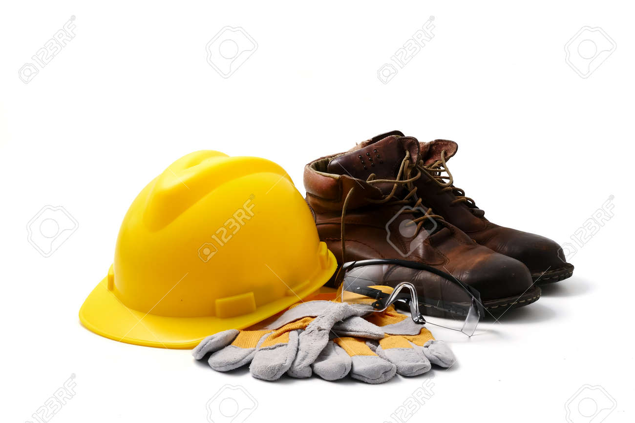 Construction site safety. Personal protective equipment on white background - 104953814