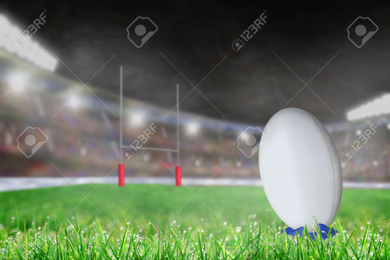 White Rugby Ball On A Kicking Tee On The Grass Ready For Conversion Stock Photo Picture And Royalty Free Image Image 95476094