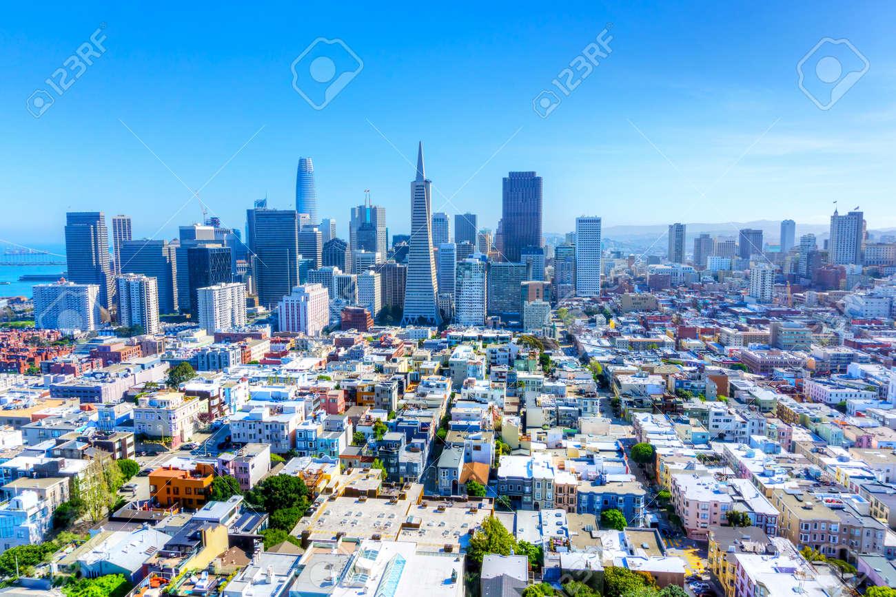 Skyline of San Francisco, California, USA, showing urban sprawl and downtown financial district. - 139735760