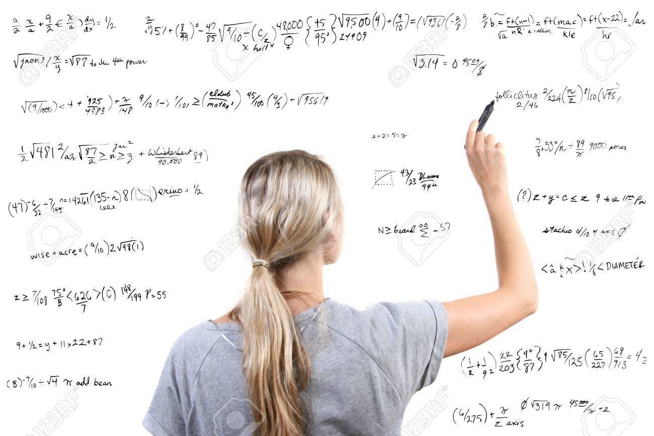 Woman writing mathematical equations Stock Photo - 11359610