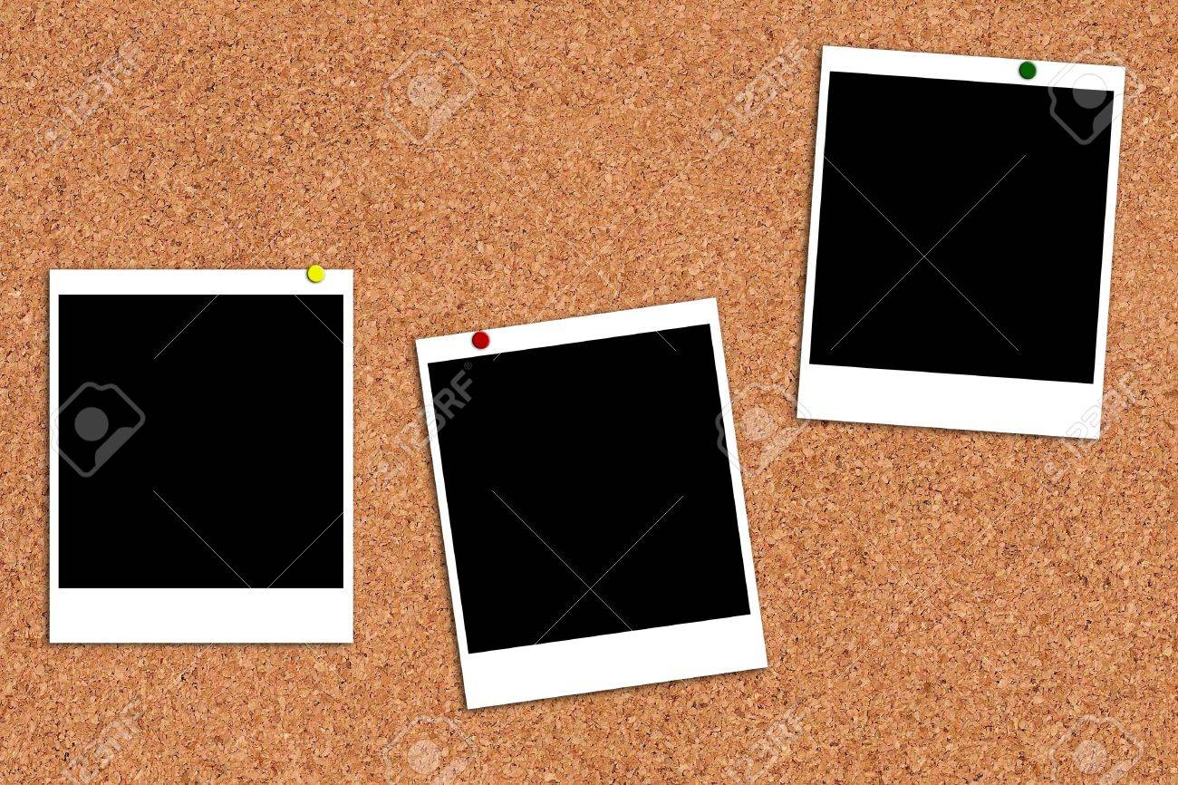 Photo frames on a cork board Stock Photo - 11359815