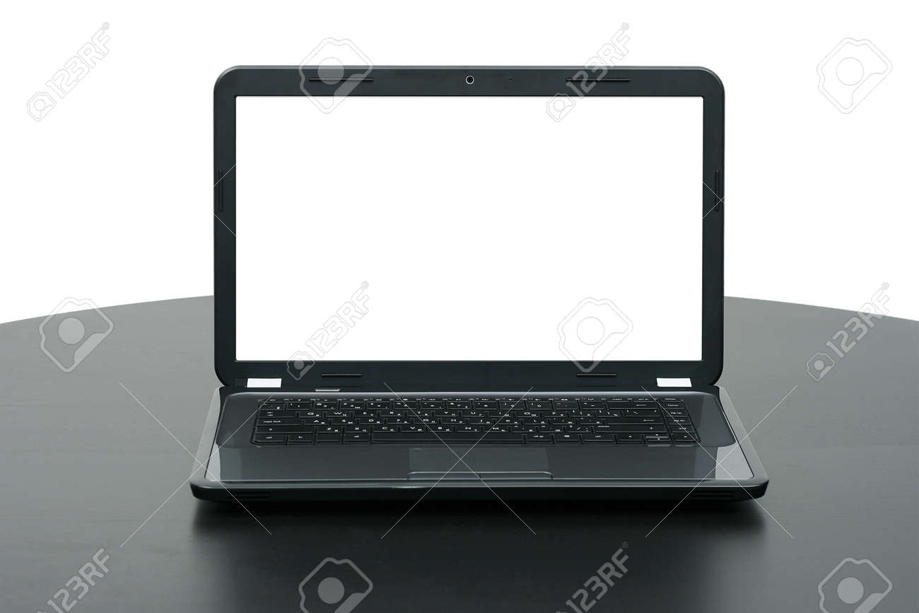 laptop with blank screen on wooden table Stock Photo - 14268793