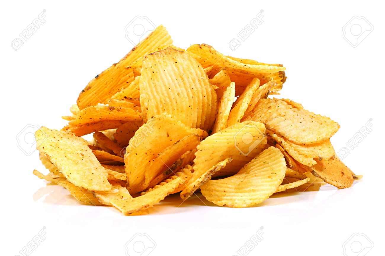 potato chips isolated on white Stock Photo - 14973715