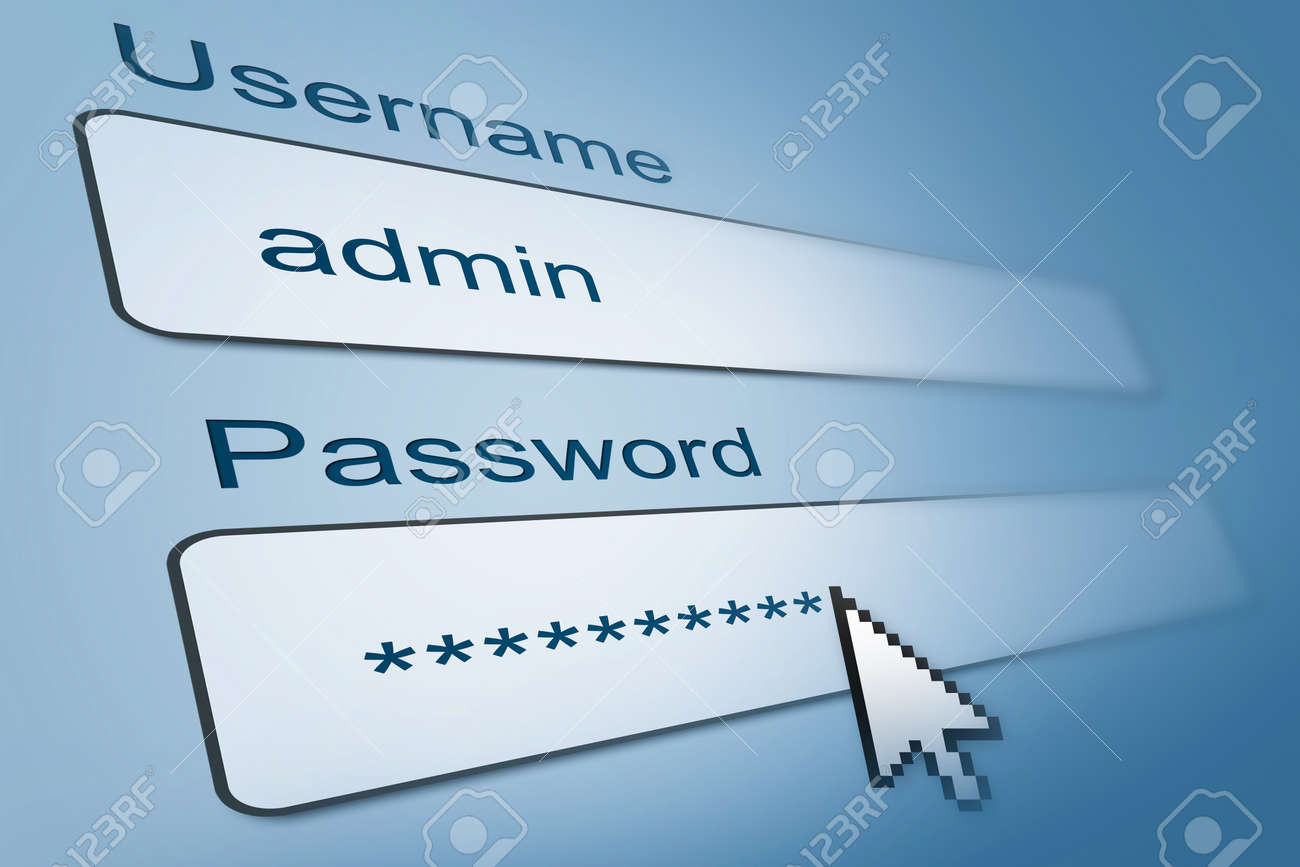 123Rf Password login with username and password in internet browser stock photo