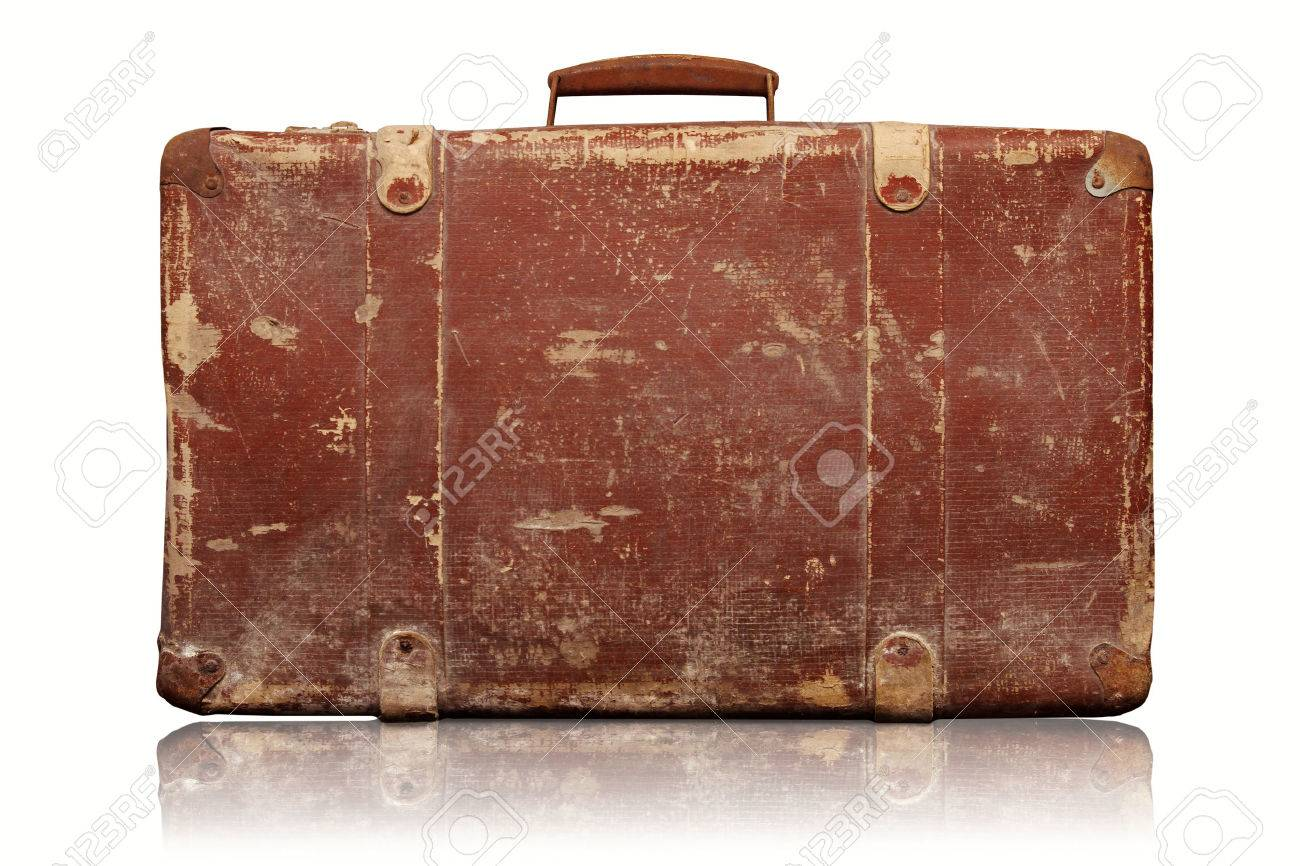 old vintage suitcase isolated on white background stock photo