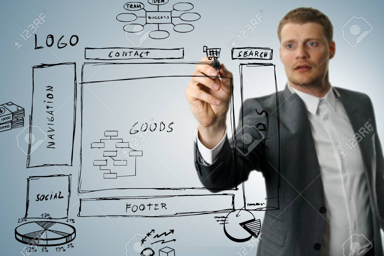 Online Shop Development Wireframe Sketch Stock Photo, Picture And ...