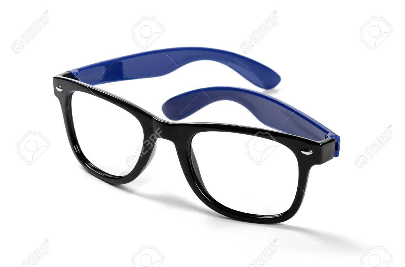 acf3b877b2 black frame hipster eyeglasses isolated on white Stock Photo - 32053924