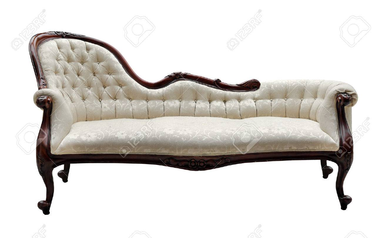 Vintage Style Couch Isolated On White Stock Photo Picture And