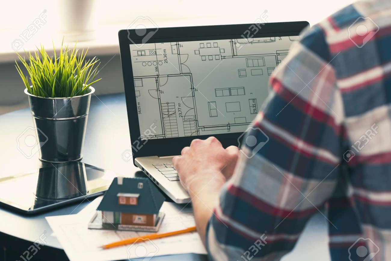 Architekt Unter Designer Beruf Ein Mann Arbeiten An Neuen Haus