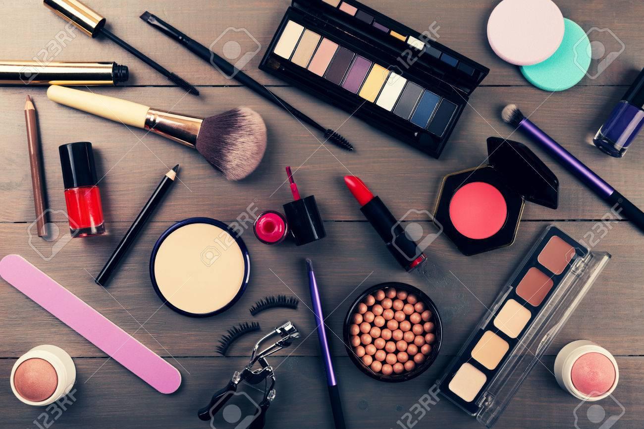 top view of makeup cosmetics set - 70271698