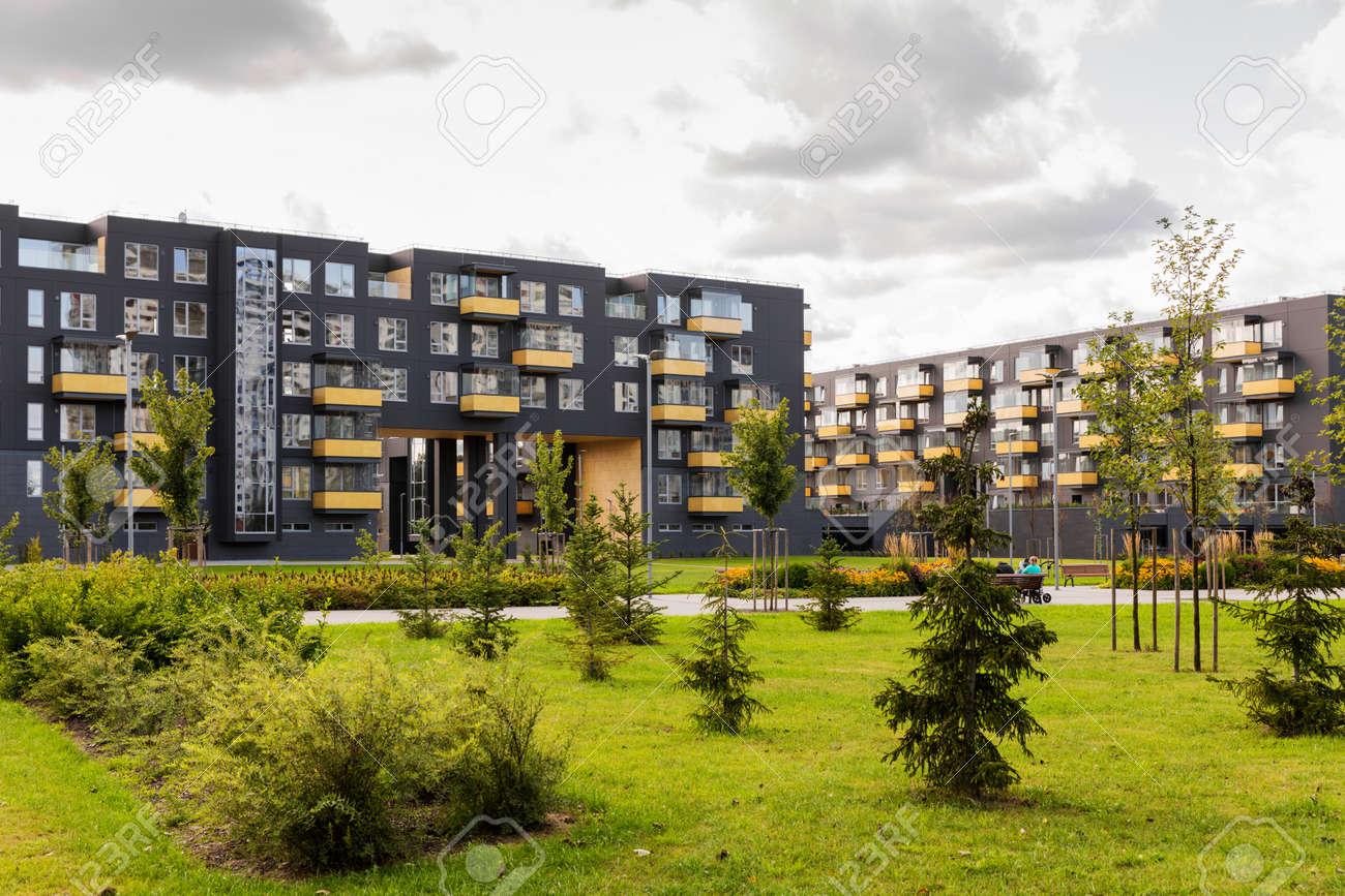 modern urban apartment buildings - 84736654