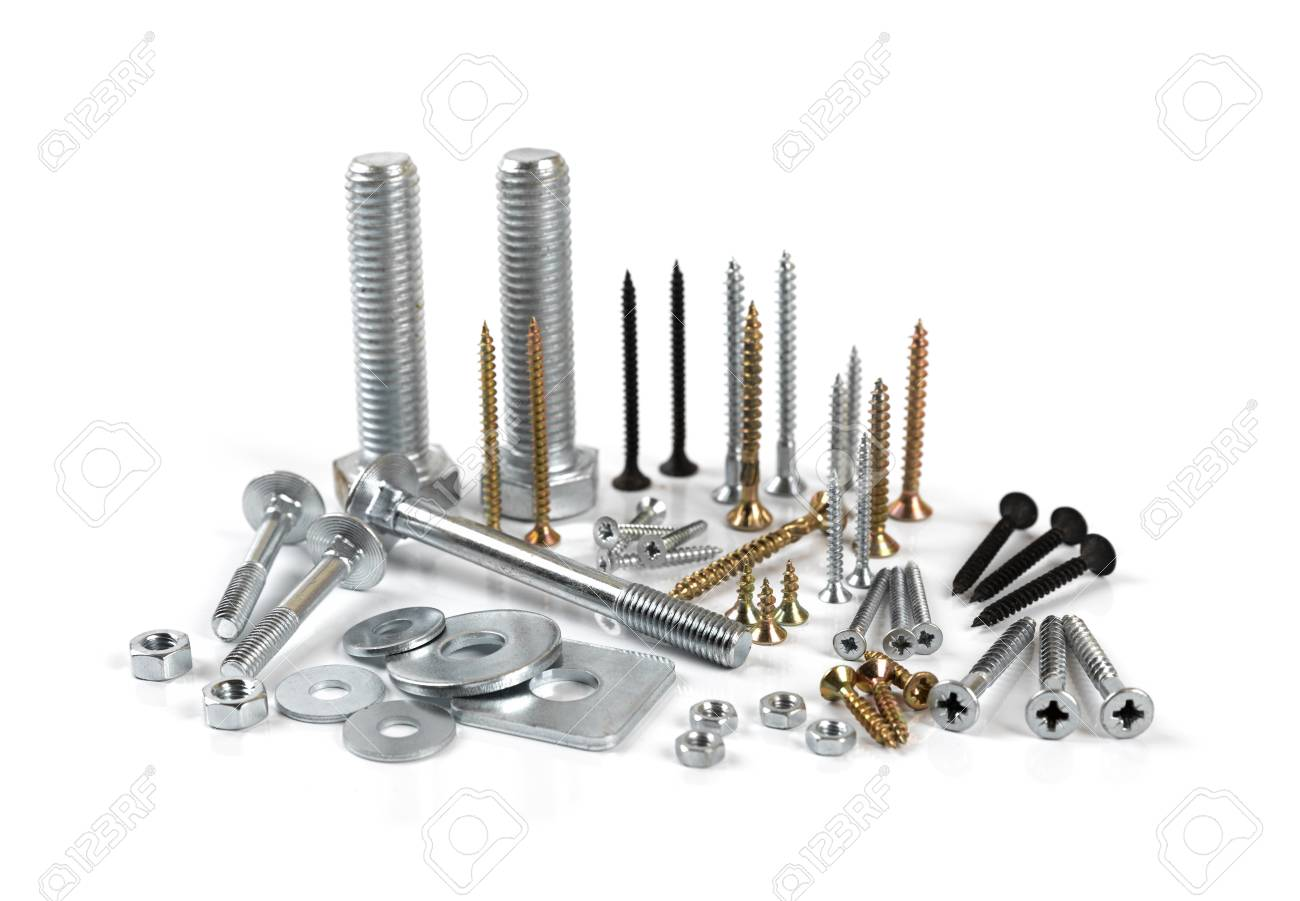 Variety of screws and fasteners isolated on white background - 99192861