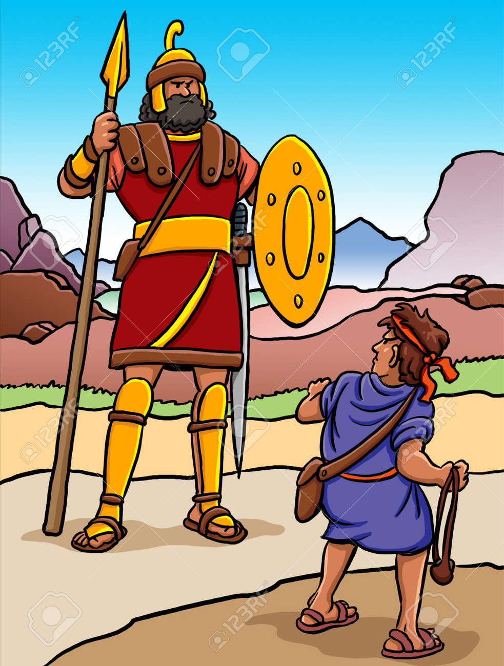 Cartoon of David and Goliath - 126584132