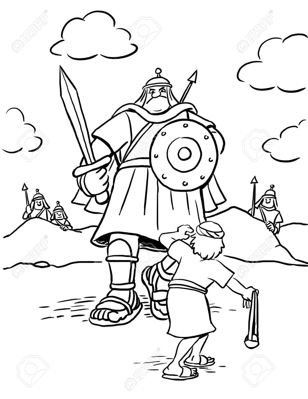 David and Goliath - Bible Coloring Pages | What's in the Bible? | 1300x1004