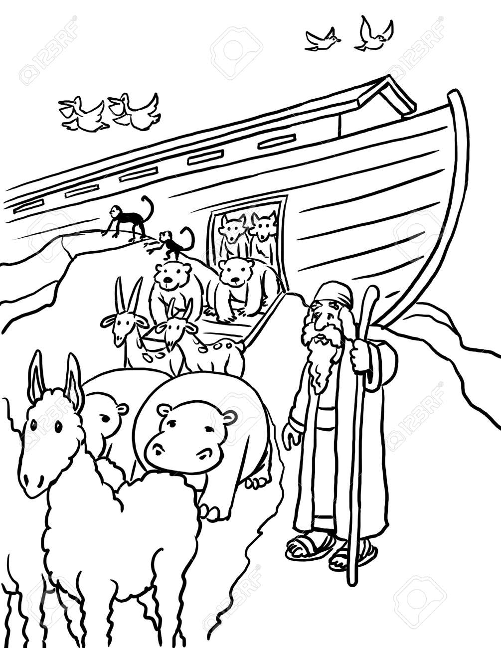 Coloring Page Of Noah And Animals At Ark