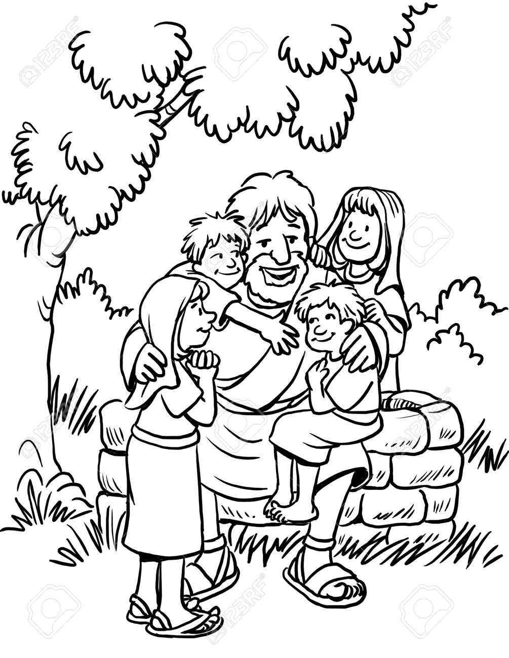 - Coloring Page Of Jesus Loving The Children Stock Photo, Picture