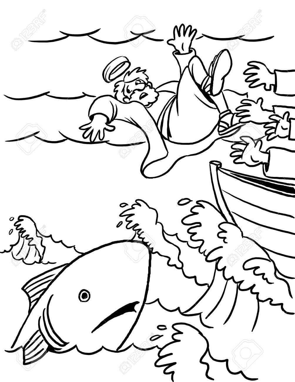 Coloring Page Of Jonah And The Big Fish Stock Photo Picture And
