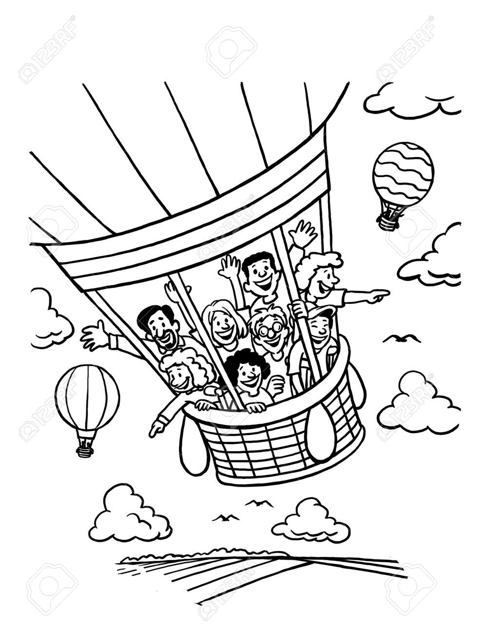 hot air balloon coloring pages - Free Large Images | 1300x1004