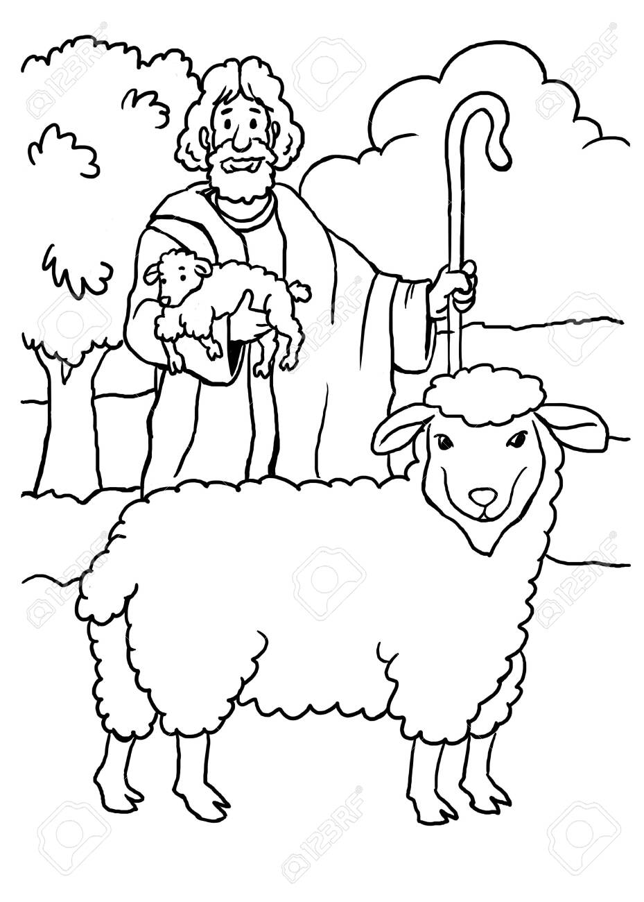 Coloring Page Of Jesus As The Good Shepherd Stock Photo Picture And Royalty Free Image Image 125684797