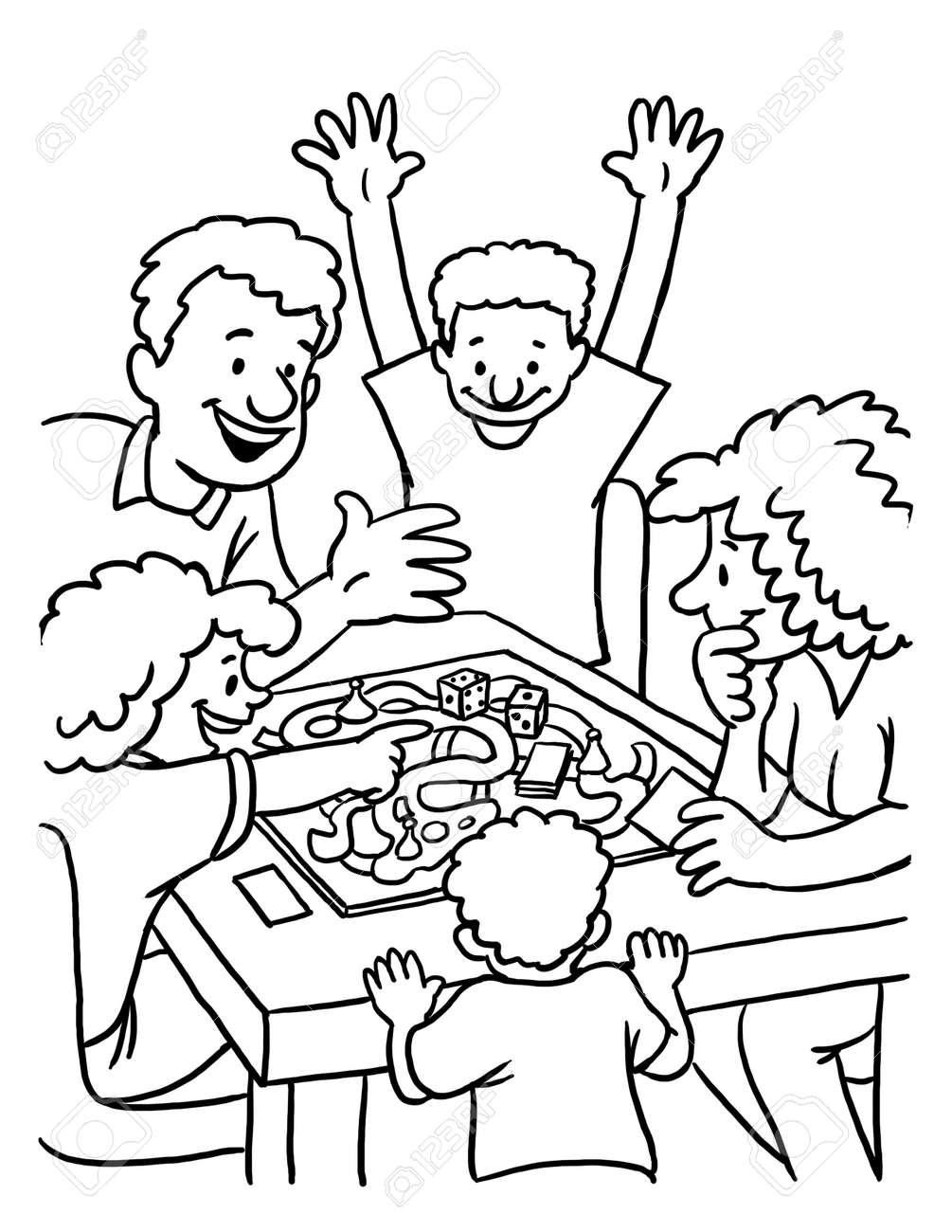 drawing games and coloring Coloring Page Of Family Playing Board Games