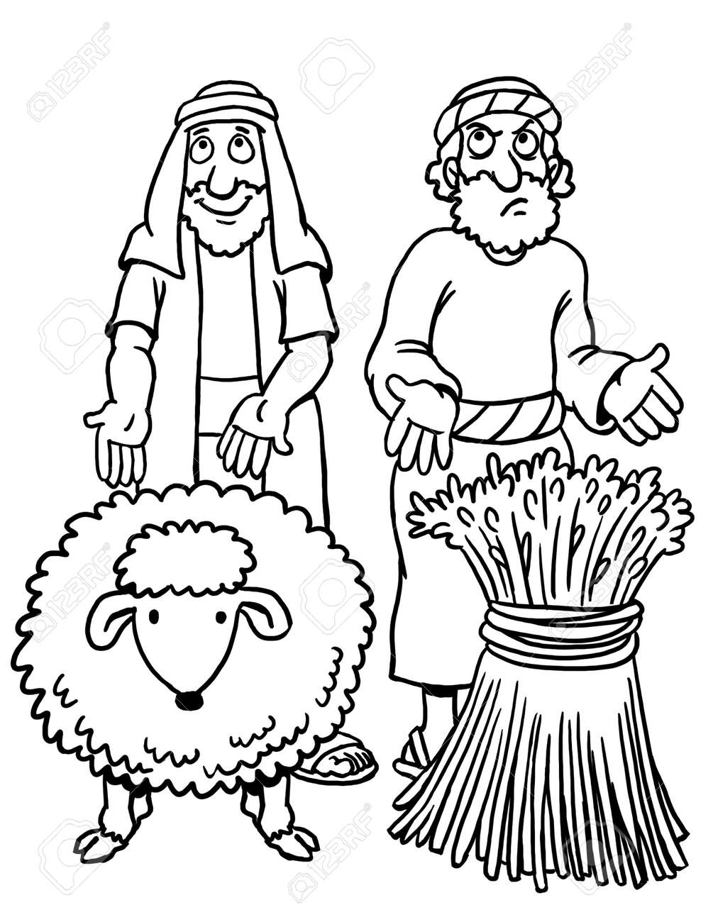 Coloring Page of Cain and Abel