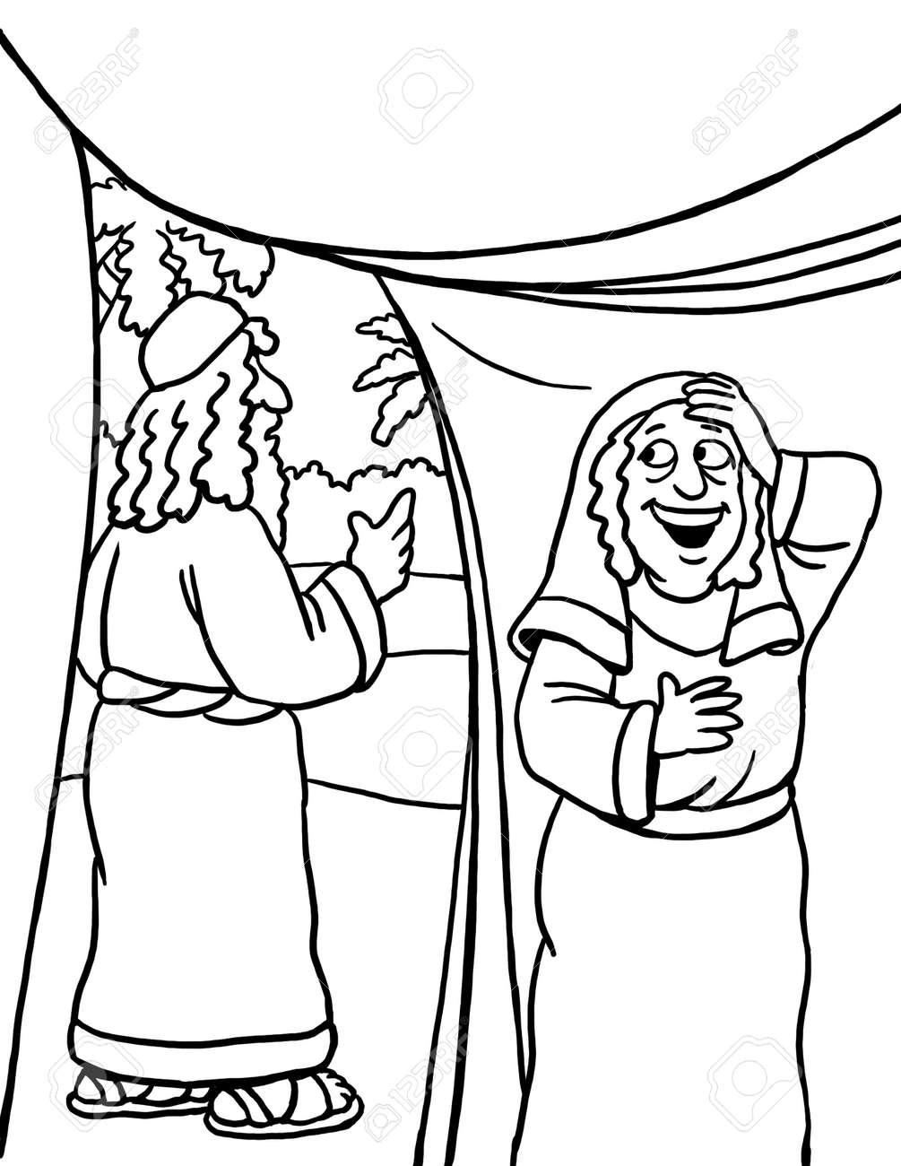 Abraham, Sarah, Isaac coloring page | Abraham and sarah, Bible ... | 1300x1004