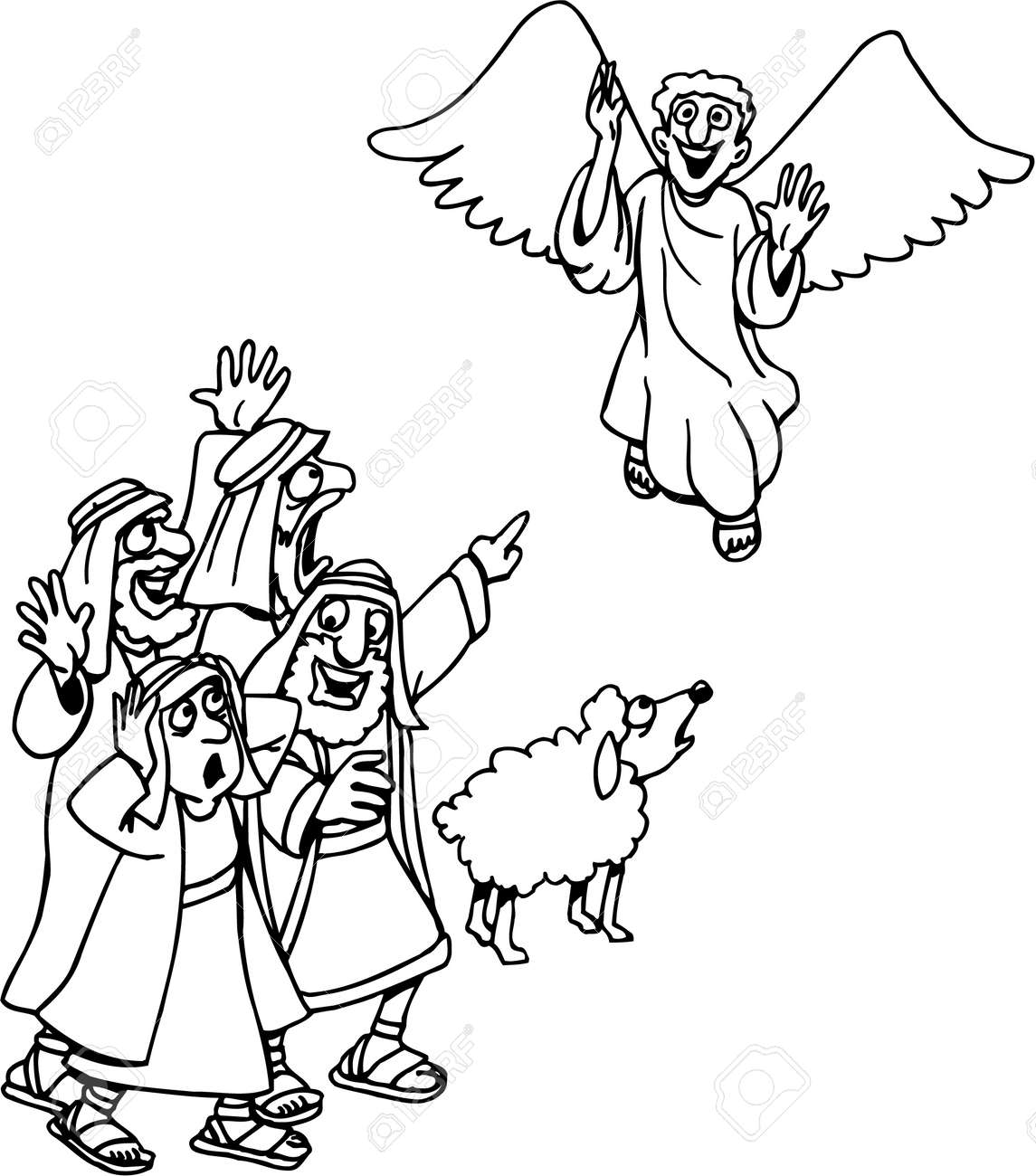 Angels And Shepherds Coloring Pages | Angel coloring pages, Sunday ... | 1300x1144