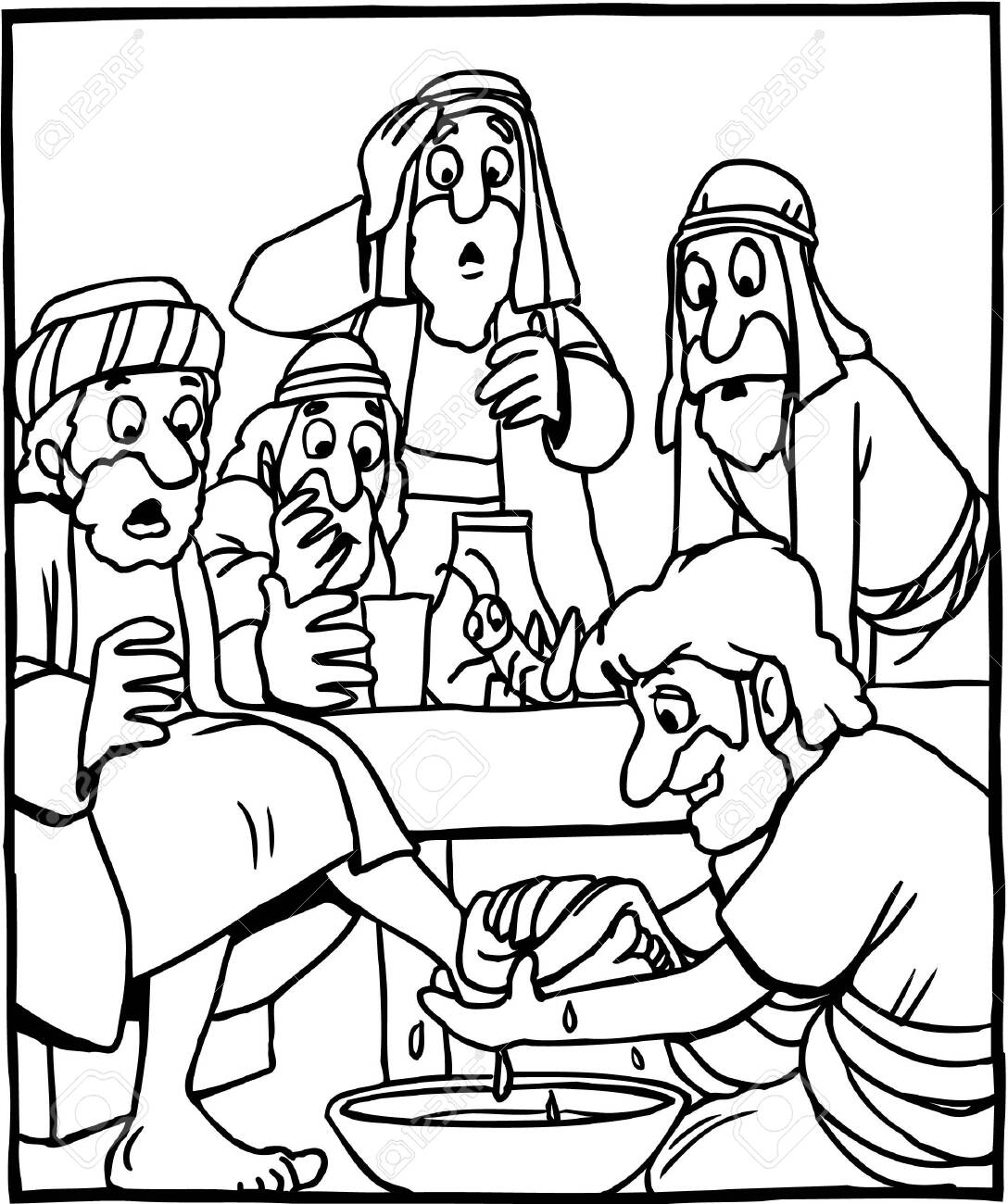 Jesus Gather With His Disciples Coloring Page : Coloring Sun | 1300x1088