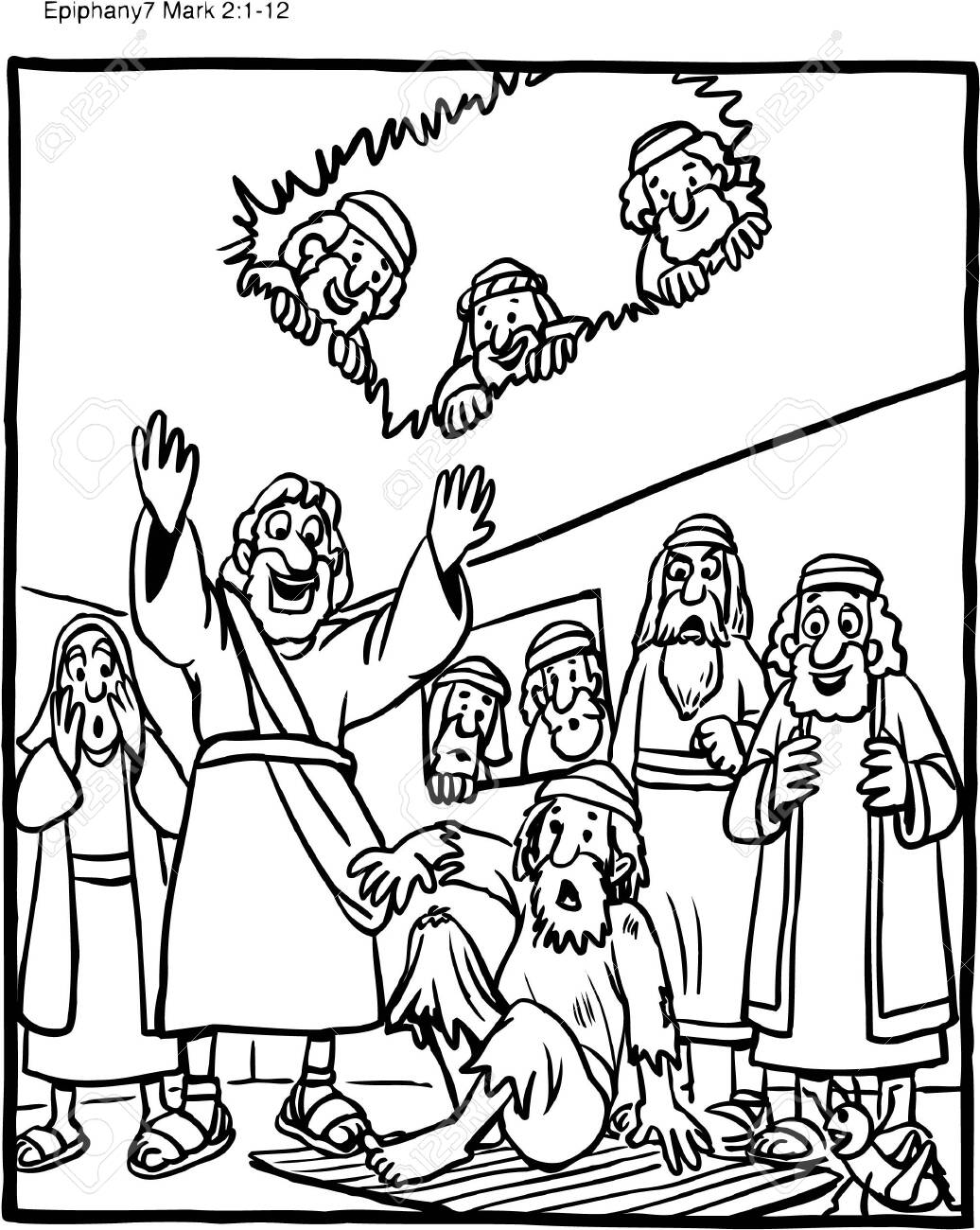 Jesus Heals a Man with a Withered Hand coloring page | Free ... | 1300x1036