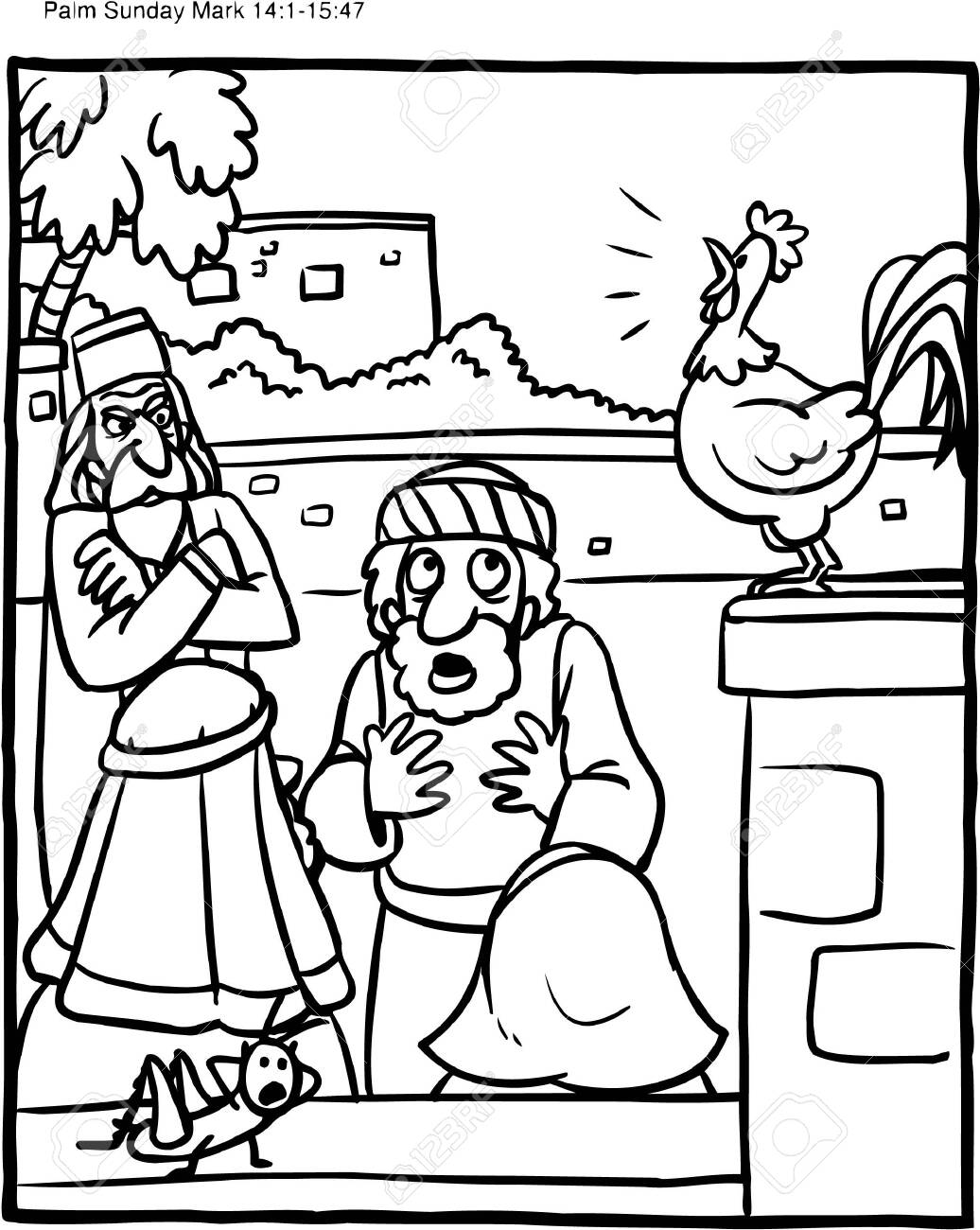 Coloring Page Of Rooster And Peter Denying Jesus Royalty Free Cliparts Vectors And Stock Illustration Image 126874039