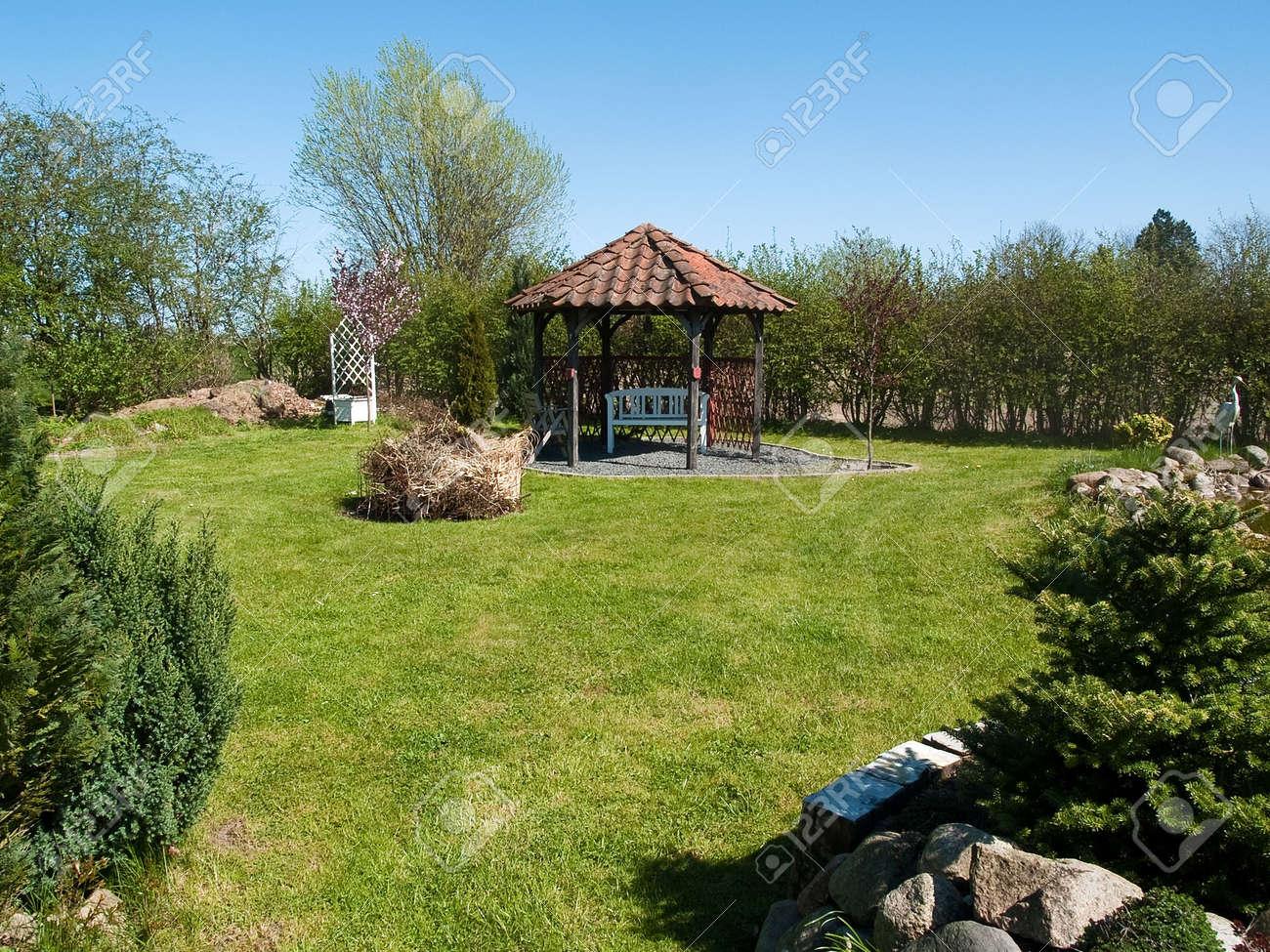 beautiful blooming classical country backyard summer garden stock