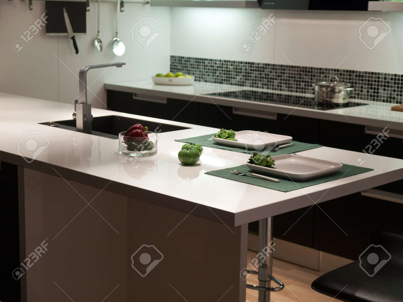 Modern design trendy styled kitchen with black and white Stock Photo - 4866934