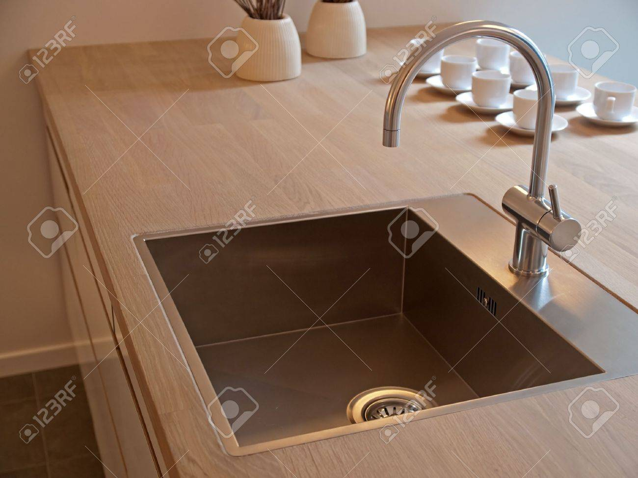 Kitchen Sink: Details Of Modern Design Trendy Kitchen Sink With Water Tap