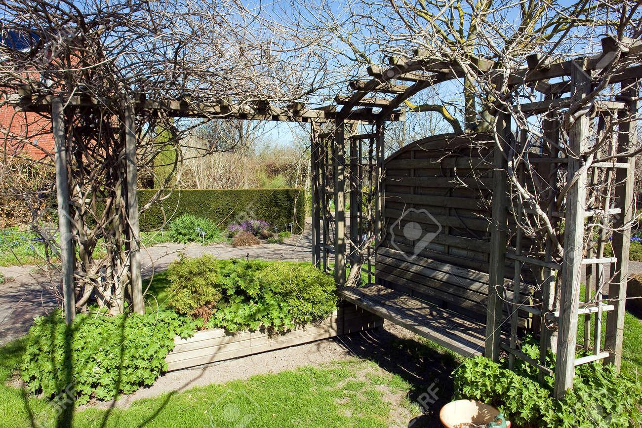 Beautiful Small Wooden Garden Pergola Gazebo Arbor Stock Photo Picture And Royalty Free Image Image 10429548