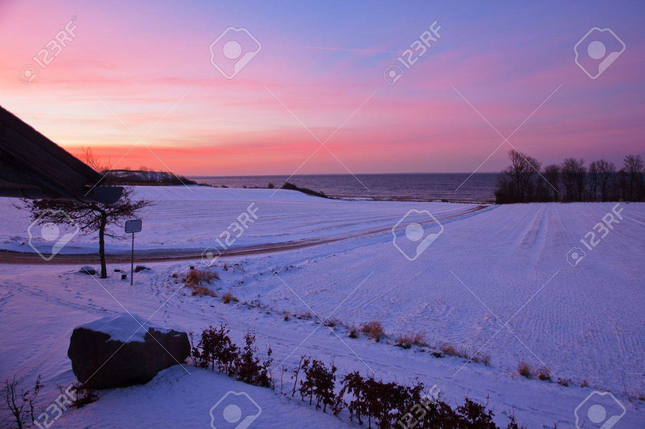 Beautiful dramatic winter sunset over snow field, trees and the ocean Stock Photo - 12419002