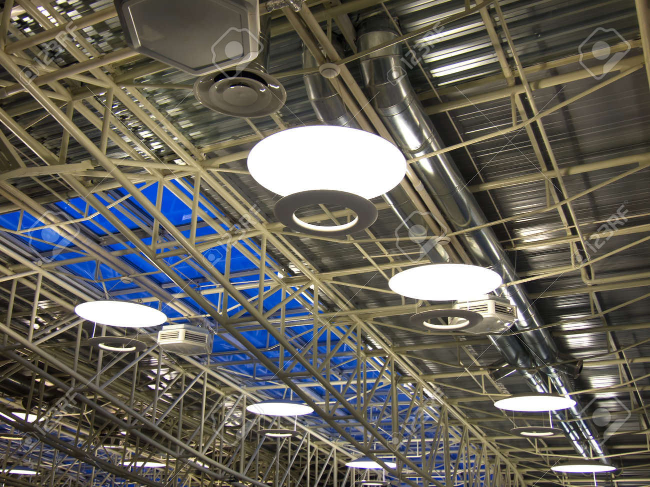 roof of a modern industrial factory with ventilation system stock