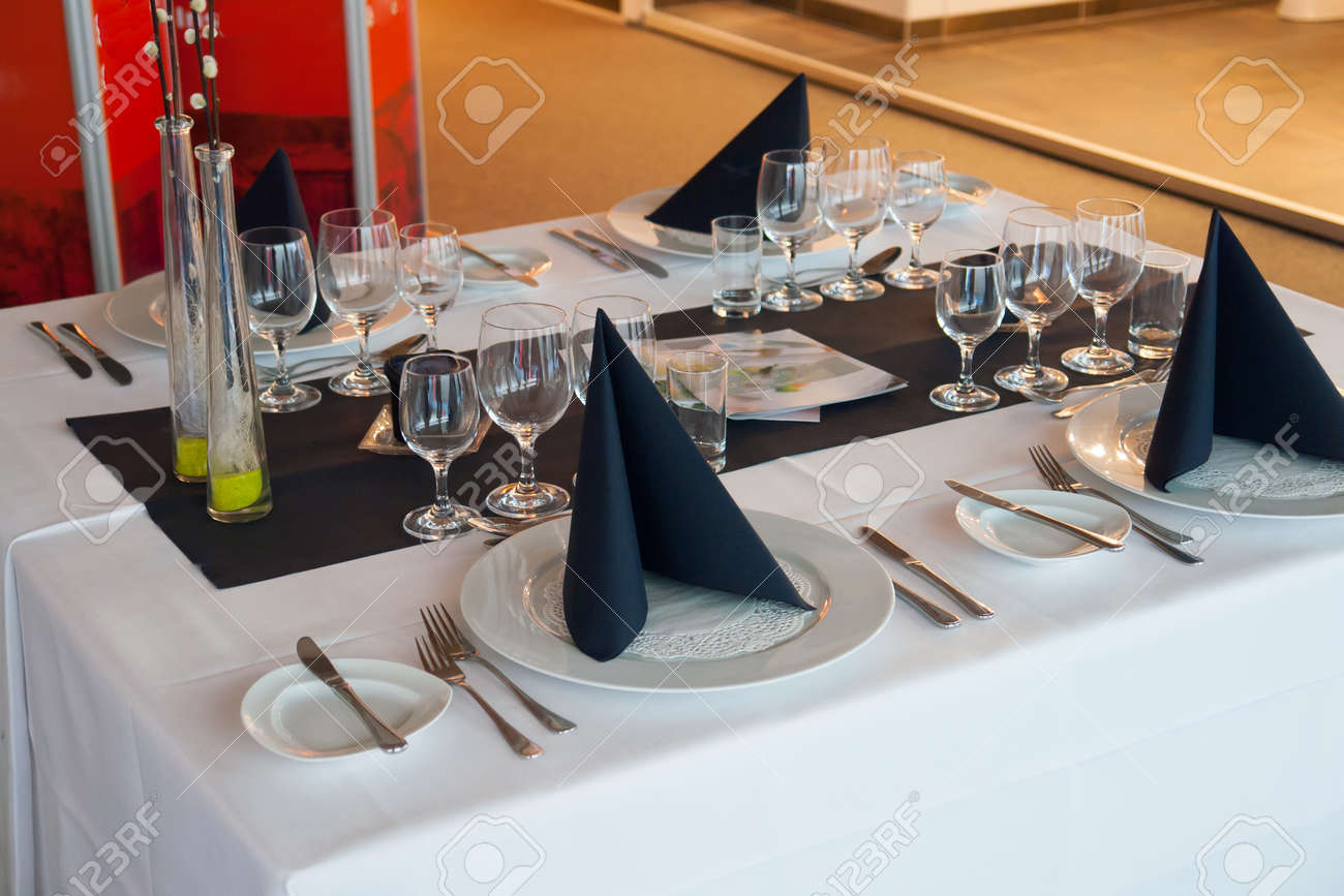 Fancy restaurant table setting - Fine Restaurant Beautiful Dinner Table Place Setting With Classical Decorative Items Stock Photo 18061902