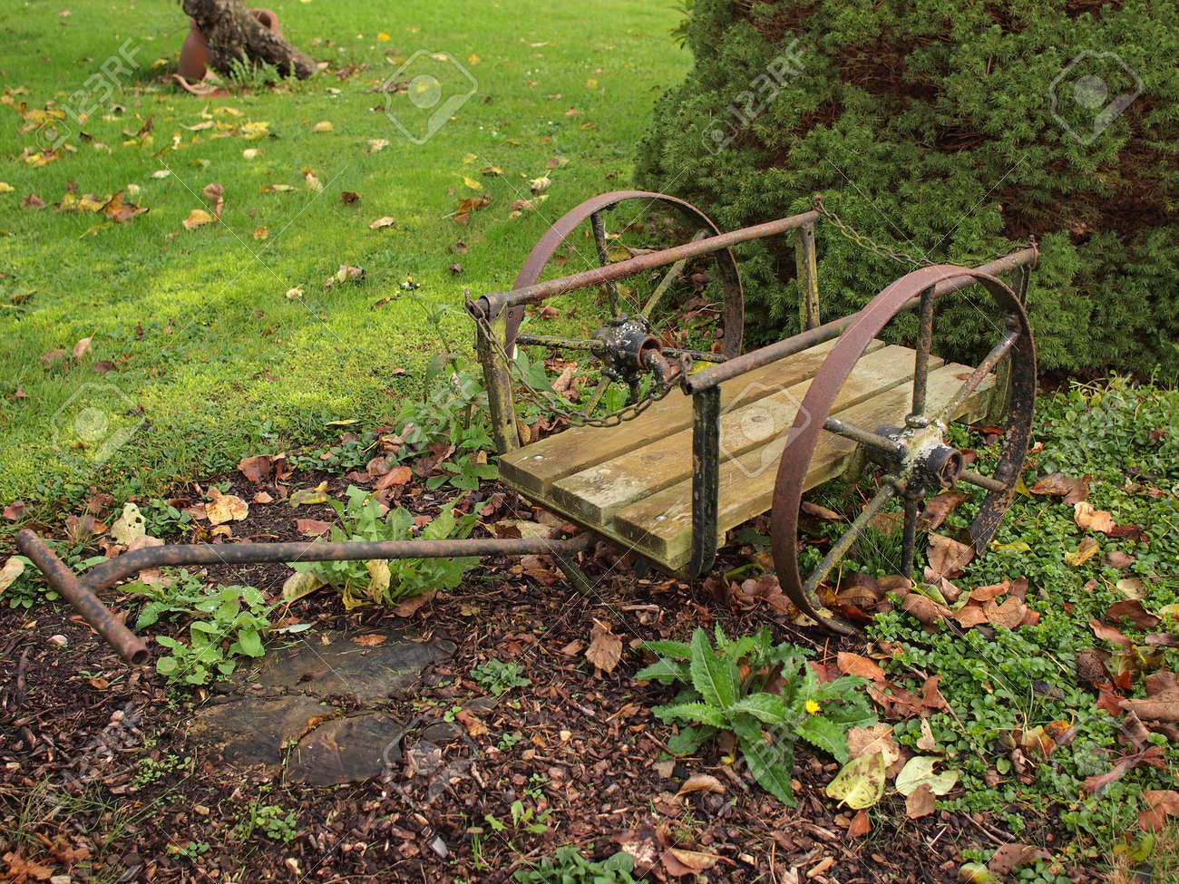 Vintage Cast Iron Garden Decor Old Wagon Stock Photo, Picture And ...