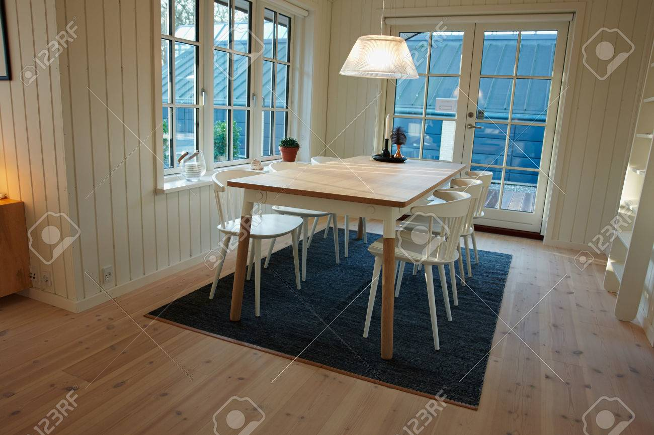 Modern Dining Room Danish Scandinavian Trendy Clean Lines Interior Stock Photo Picture And Royalty Free Image Image 34686399