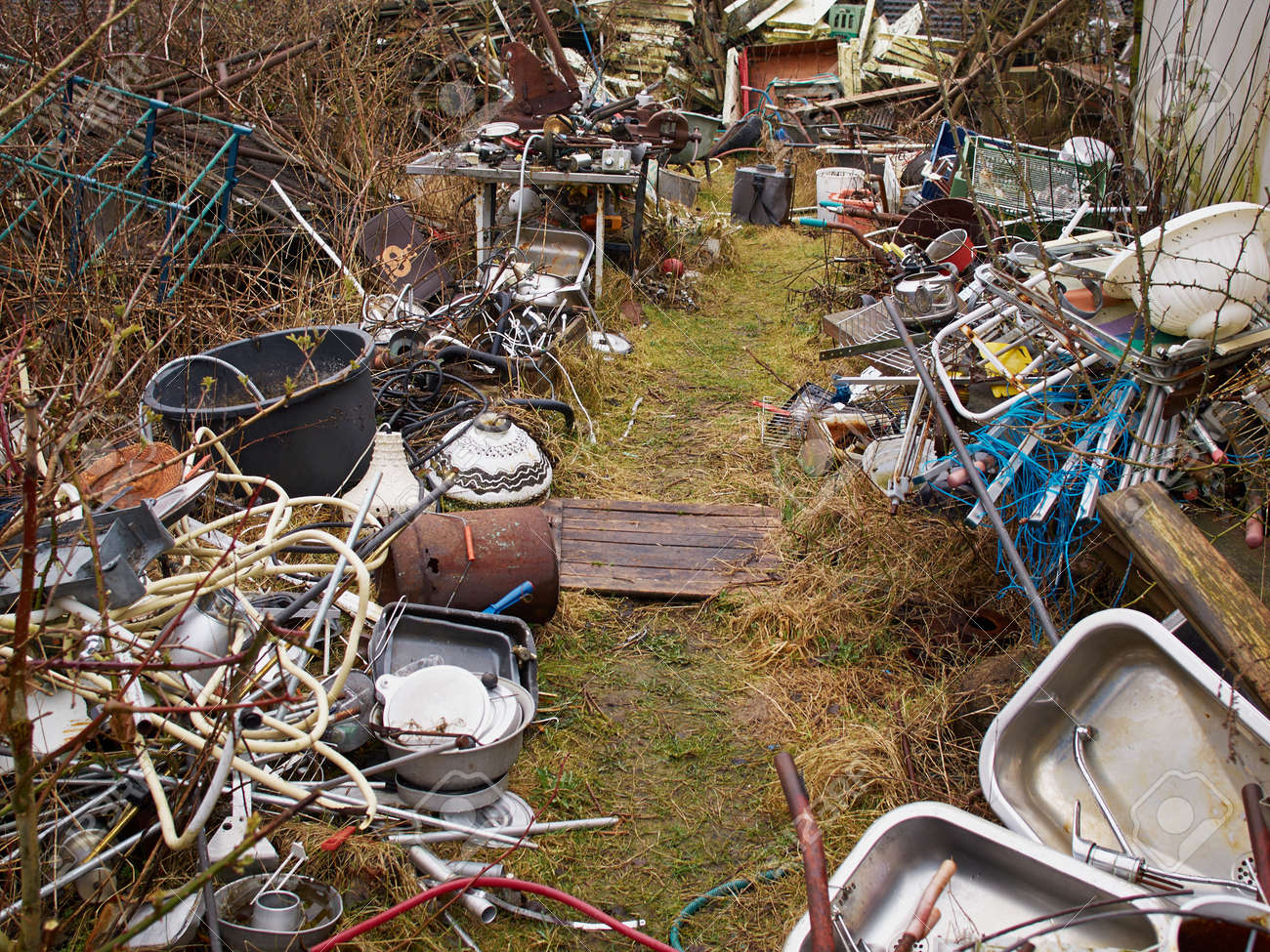 Amazing Scrap Metal Iron Junk Garbage In A Backyard Stock Photo   39373029