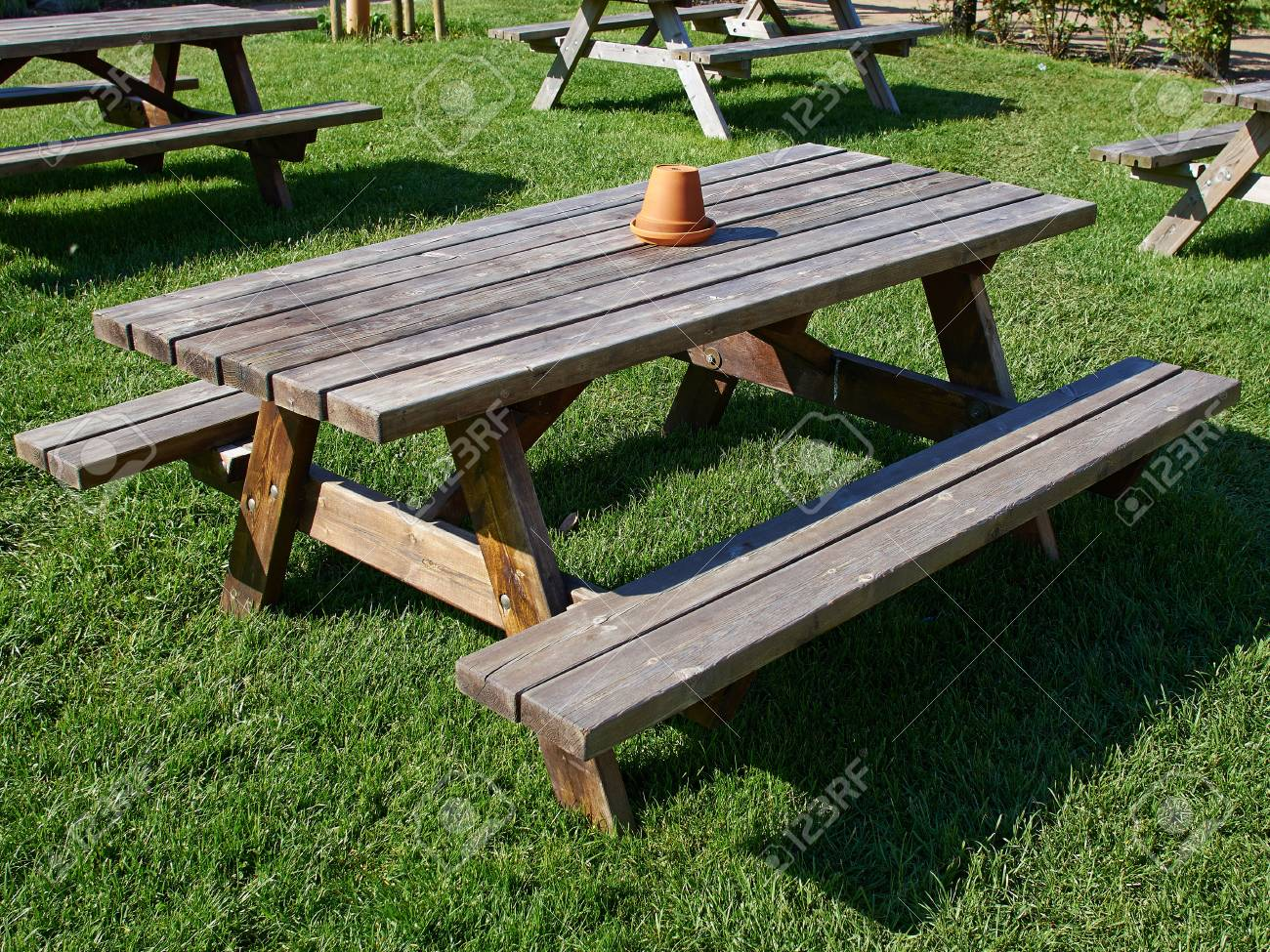 Rustic style Picnic Table made of wood in a beautiful garden