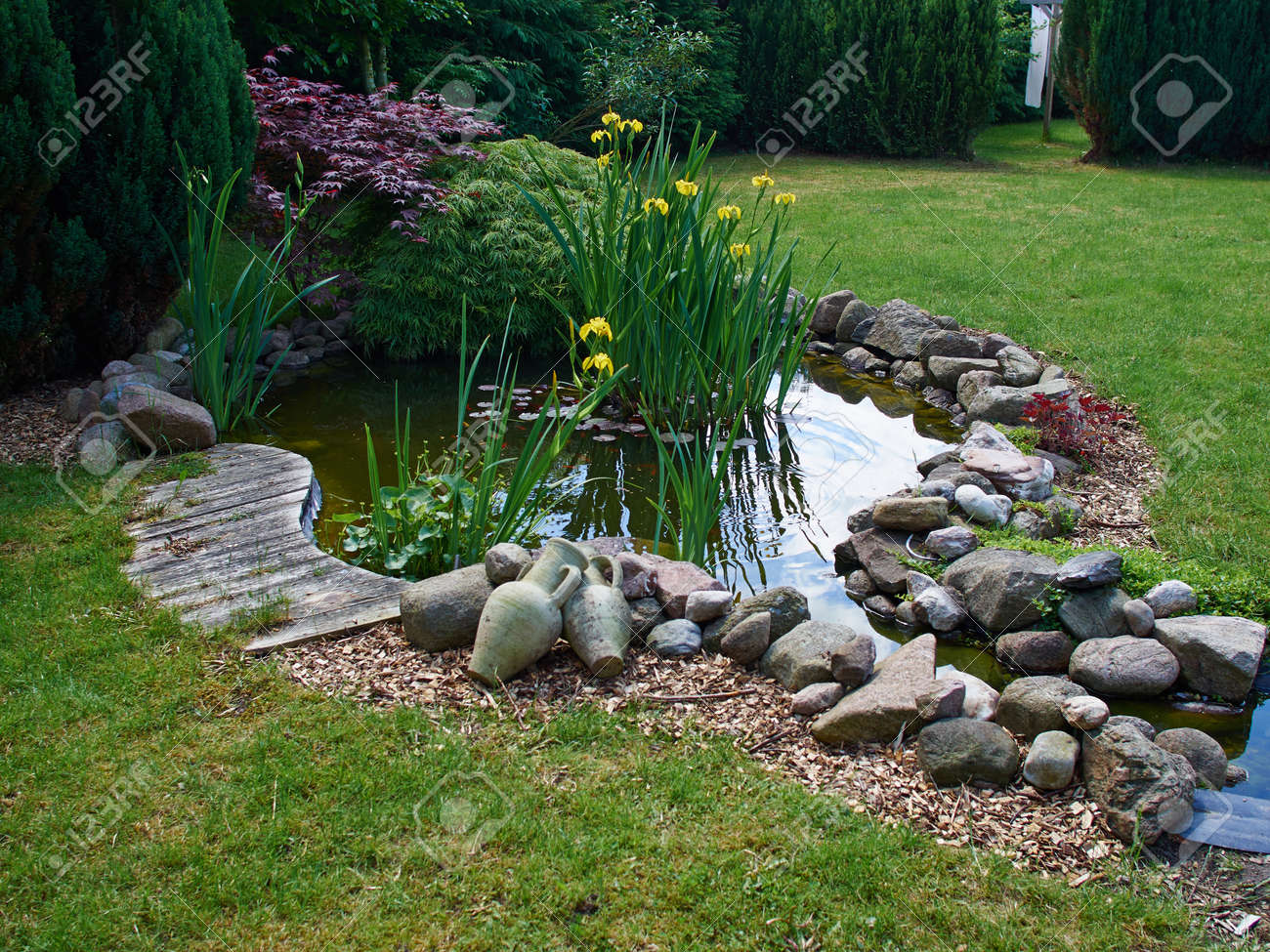 Beautiful classical garden fish pond surrounded by grass gardening background - 58920800